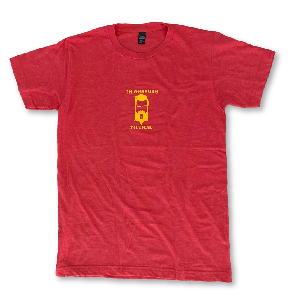 "THIGHBRUSH® TACTICAL -  ARMED FORCES COLLECTION - ""SEMPER THIGH"" Men's T-Shirt - Scarlet and Gold - thighbrush"