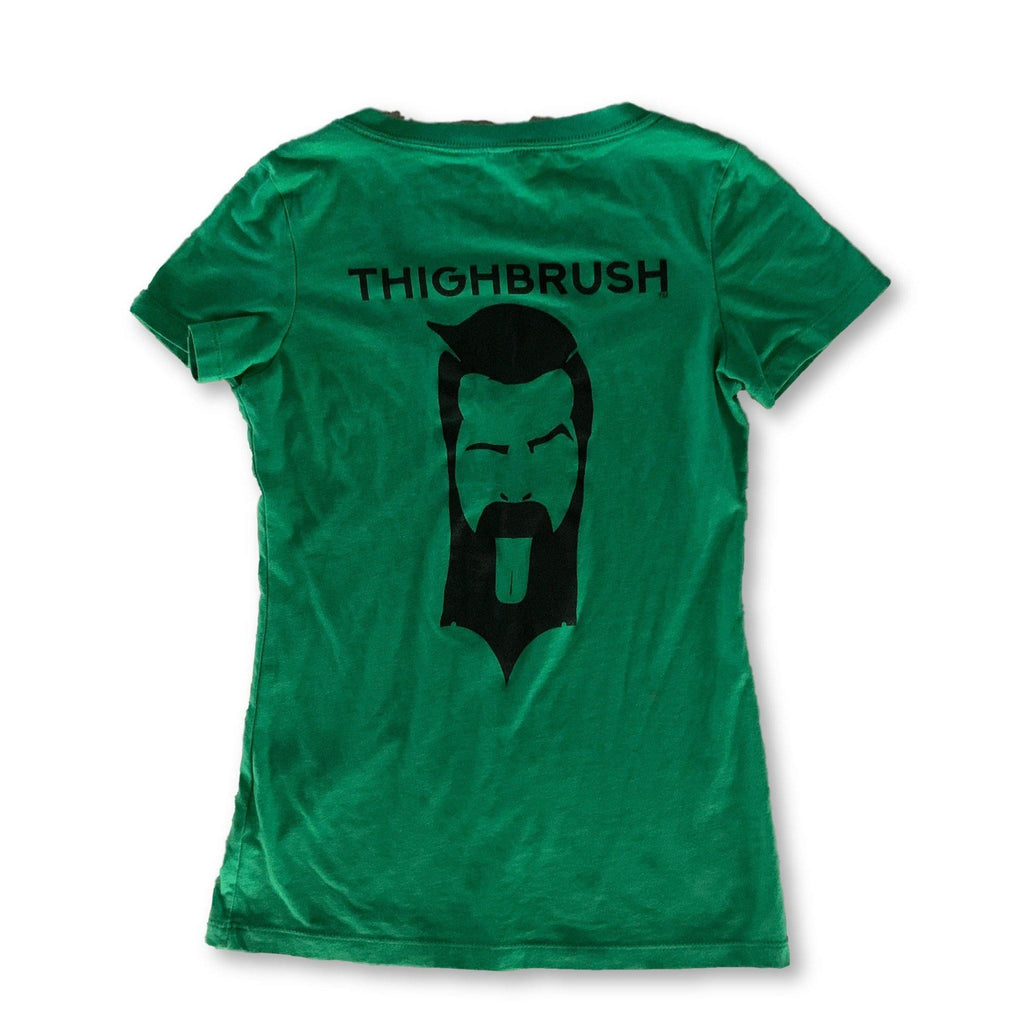 THIGHBRUSH® - GOT THIGHBRUSH? - Women's T-Shirt - V-Neck - Green with Black - thighbrush