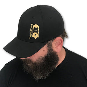 THIGHBRUSH - FlexFit Hat - Black with Gold - #THIGHBRUSHNATION - THIGHBRUSH®