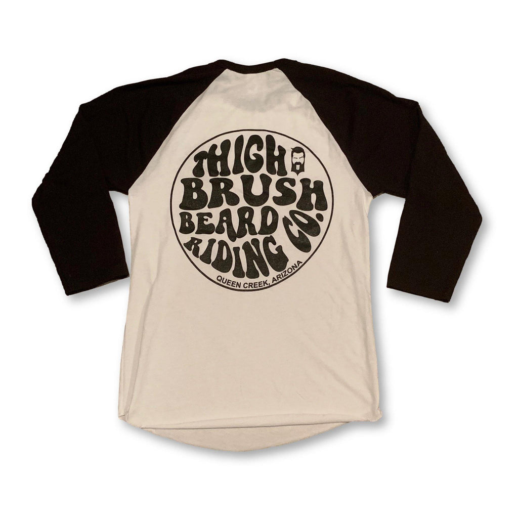 THIGHBRUSH® BEARD RIDING COMPANY - Unisex Baseball Tee - White with Black - thighbrush