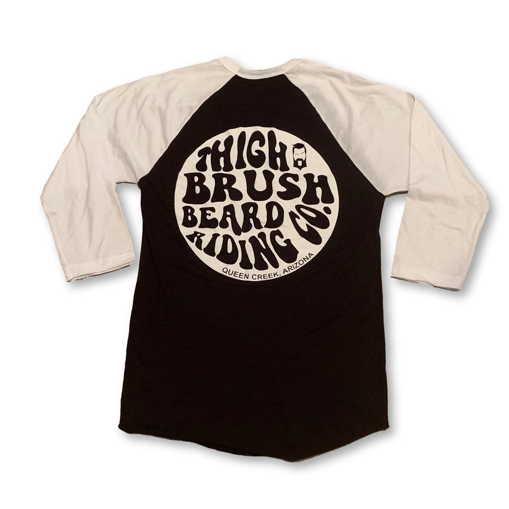 THIGHBRUSH® BEARD RIDING COMPANY - Unisex Baseball Tee - Black with White - thighbrush