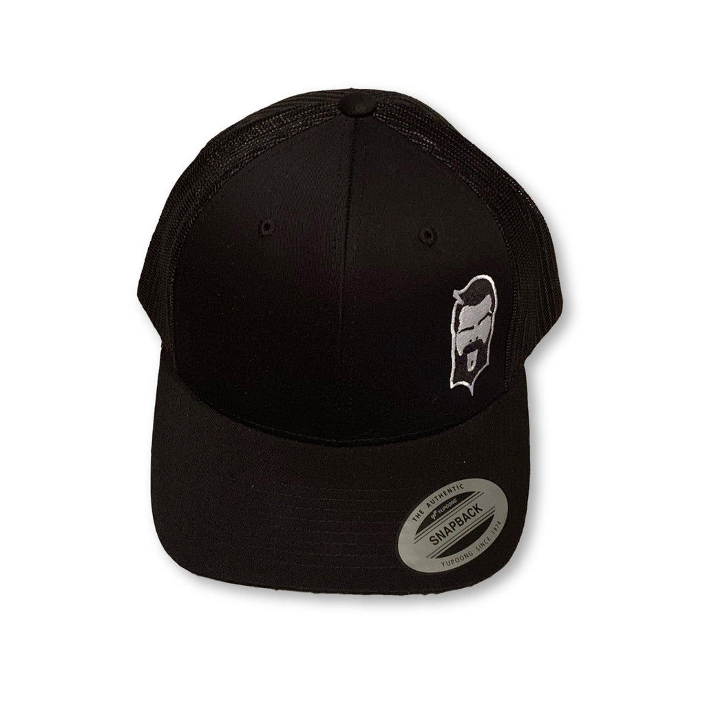 THIGHBRUSH® - Trucker Snapback Hat - Black on Black with 2-Tone Face Logo - thighbrush