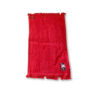 "THIGHBRUSH® Golf ""Clean-up"" Towel in Red with Logo - thighbrush"