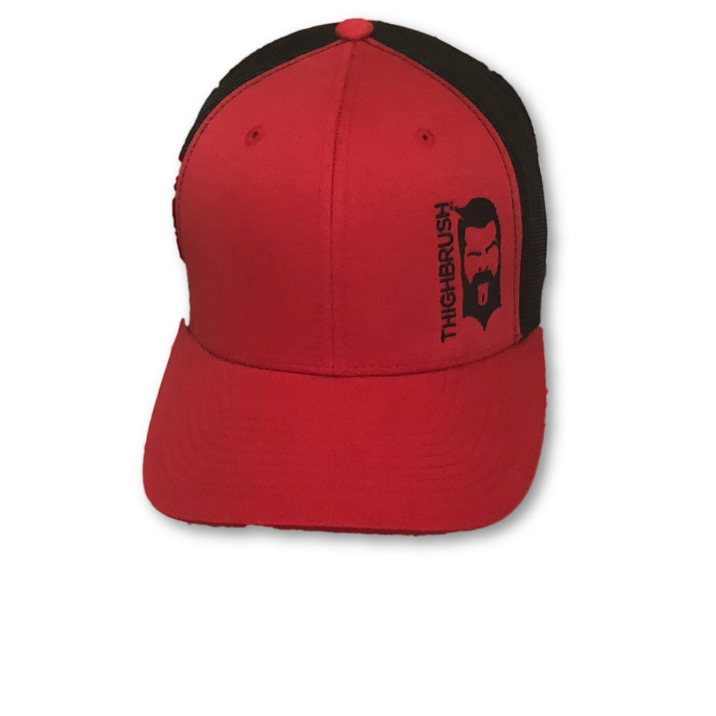 THIGHBRUSH® - Trucker Snapback Hat - Red and Black - thighbrush