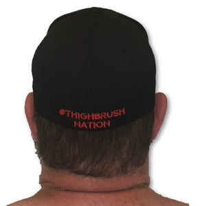 THIGHBRUSH® - FlexFit Hat - Black with Red - #THIGHBRUSHNATION - thighbrush