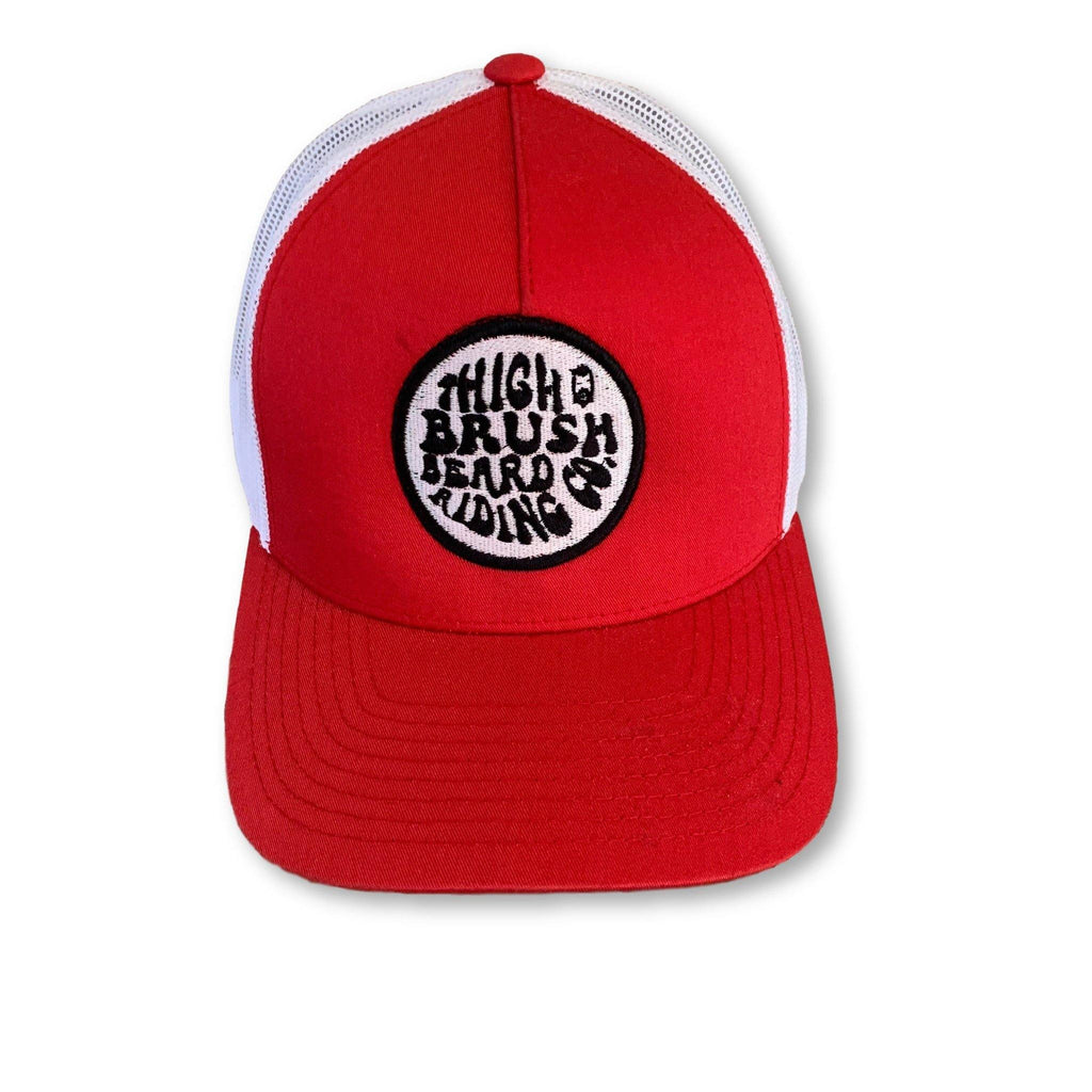 THIGHBRUSH® BEARD RIDING COMPANY - Trucker Snapback Hat - Red and White - thighbrush