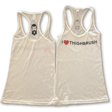 THIGHBRUSH - I LOVE THIGHBRUSH - Women's T-Back Tank Top in White