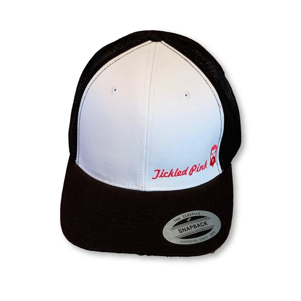 "THIGHBRUSH® ""Tickled Pink"" - Trucker Snapback Hat - White and Black with Pink - thighbrush"