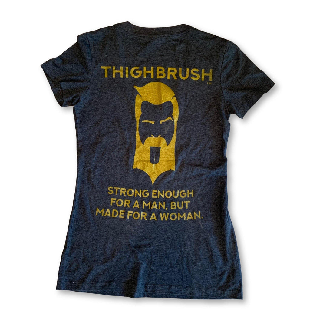 "THIGHBRUSH® - ""Strong Enough for a Man, But Made for a Woman"" - Women's T-Shirt - V-Neck - Heather Navy and Gold - thighbrush"