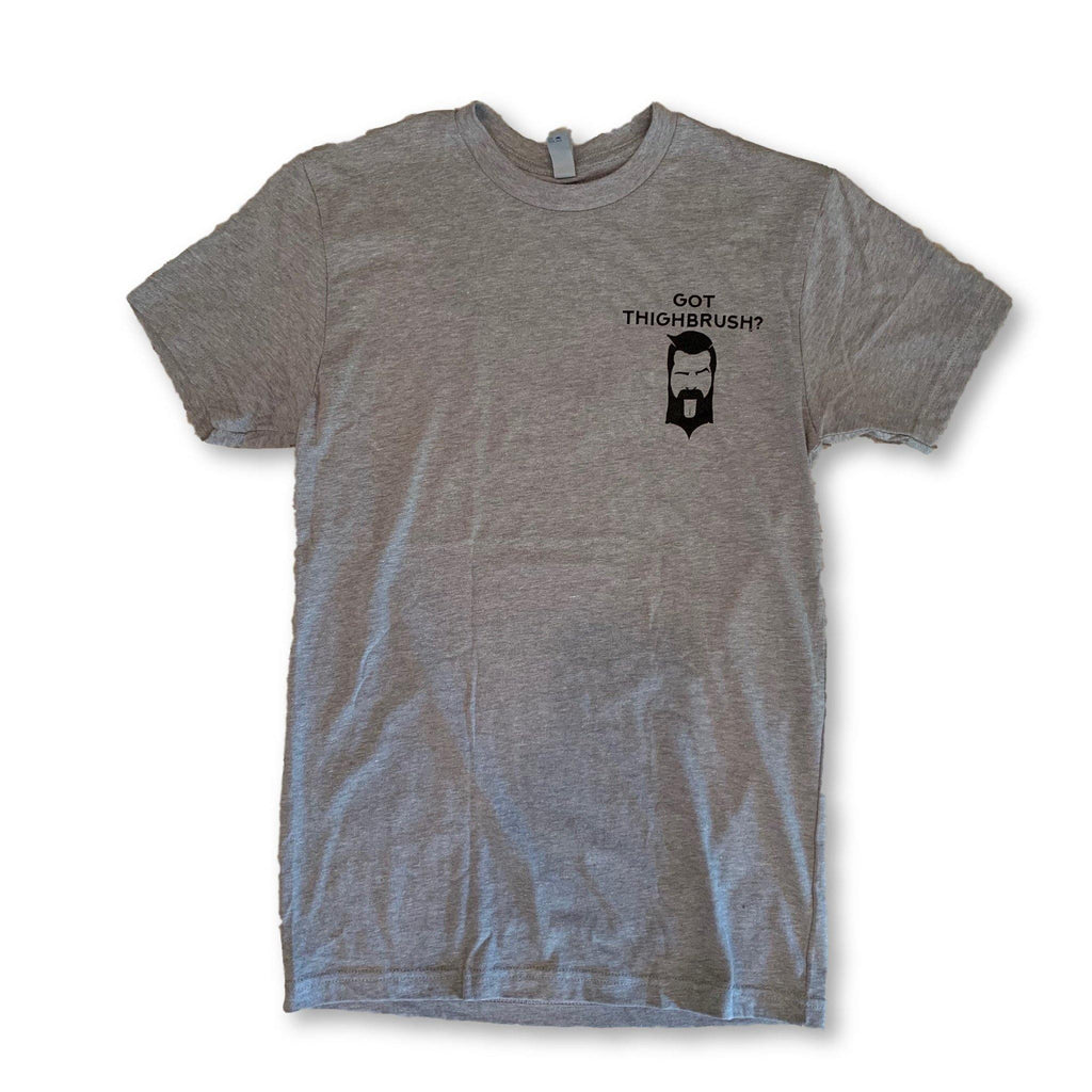 "THIGHBRUSH® - ""Got THIGHBRUSH?"" - Men's T-Shirt - Heather Grey and Black - thighbrush"