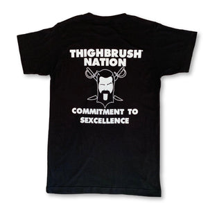 "THIGHBRUSH® NATION ""Commitment to Sexcellence"" Men's T-Shirt in Black with White Print/Logo"
