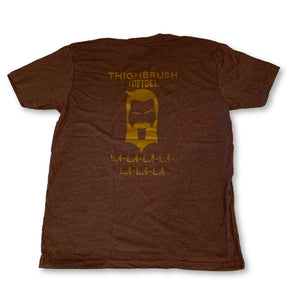 "THIGHBRUSH® TACTICAL - INFIDEL - ""LA-LA-LA-LA-LA-LA-LA"" - Men's T-Shirt - Heathered Brown and Gold - thighbrush"