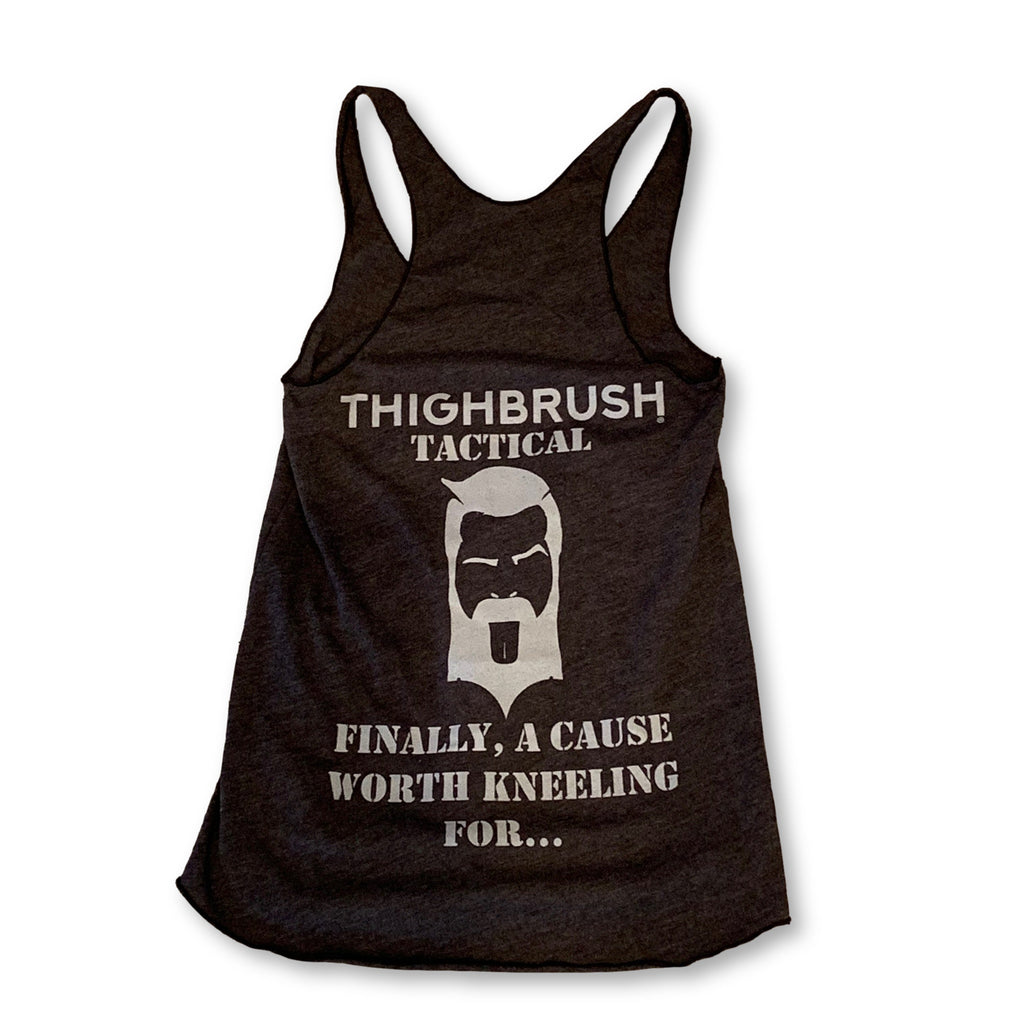 "THIGHBRUSH® TACTICAL - ""Finally, A Cause Worth Kneeling For"" - Women's Tank Top - Heather Charcoal Grey - thighbrush"