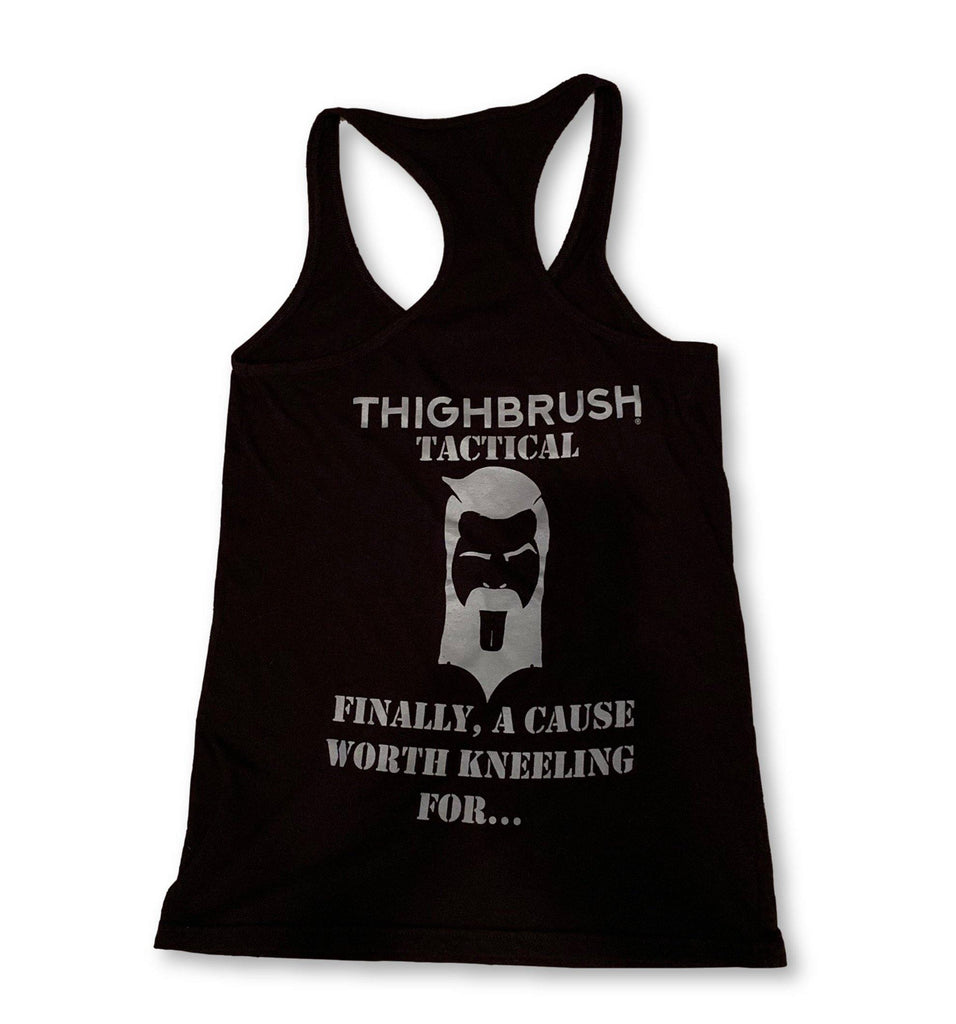 "THIGHBRUSH® TACTICAL - ""Finally, A Cause Worth Kneeling For..."" Women's Tank Top - Black and Silver - thighbrush"