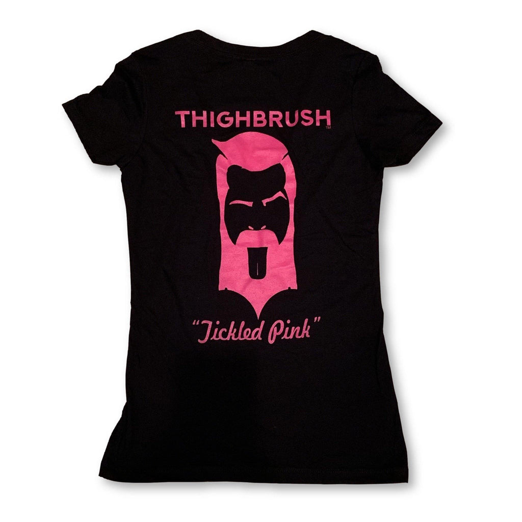 "THIGHBRUSH® - ""Tickled Pink"" - Women's T-Shirt - V-Neck - Black and Pink - thighbrush"