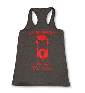 "THIGHBRUSH® - ""I Like Mine Well Hung!"" - Women's Tank Top - Heather Charcoal - thighbrush"