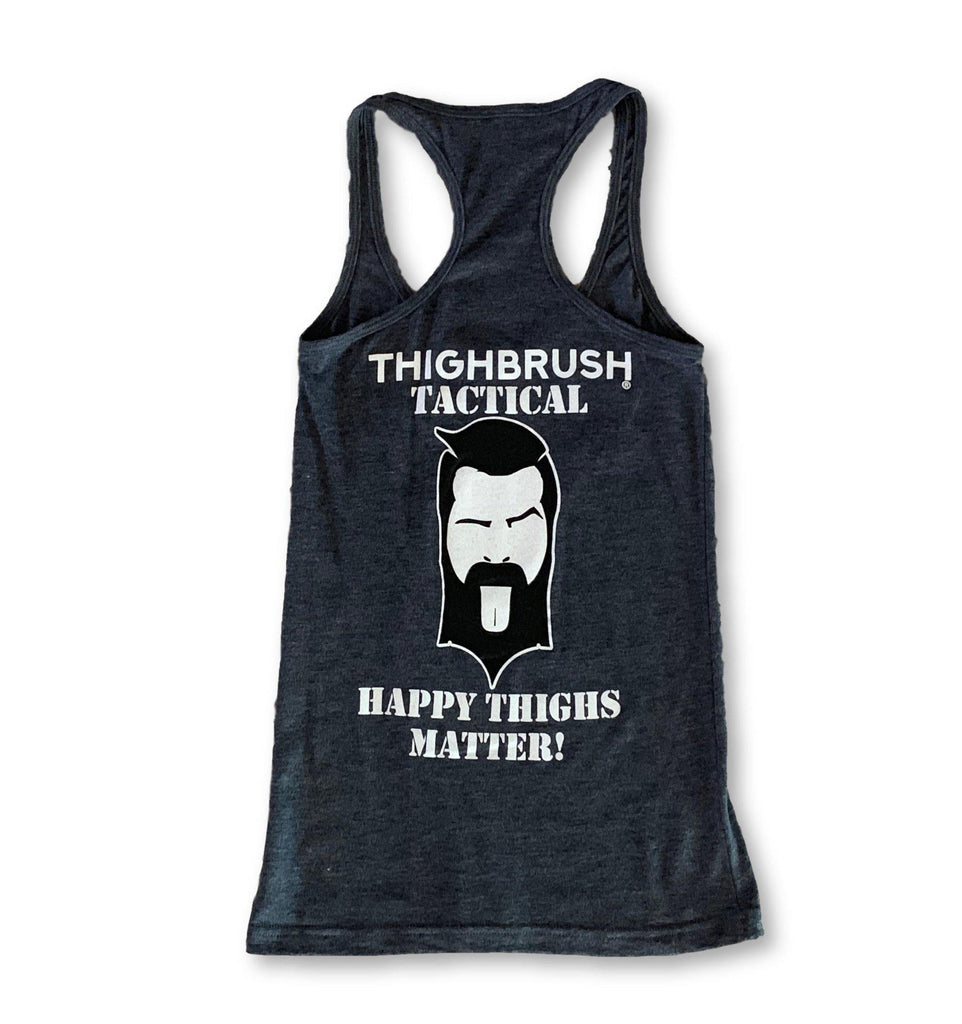 "THIGHBRUSH® TACTICAL - ""Happy THIGHS Matter"" Women's Tank Top - Heather Navy - thighbrush"