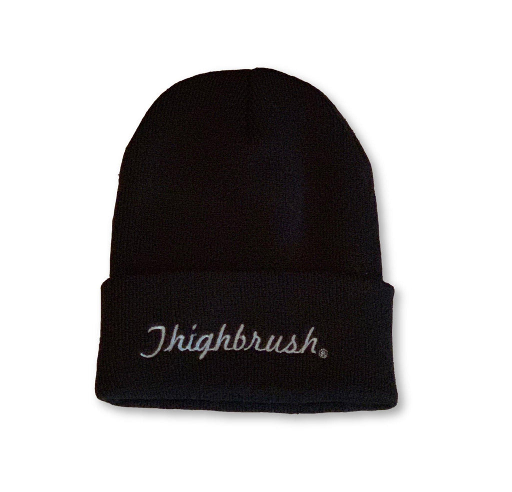 "THIGHBRUSH® Cuffed Beanies - ""THIGHBRUSH®"" Embroidered on Front - Black with Silver - thighbrush"