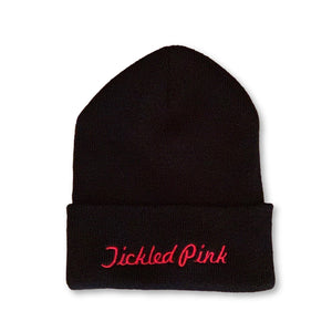 "THIGHBRUSH® Cuffed Beanies - ""Tickled Pink"" Embroidered on Front - Black with Pink - thighbrush"