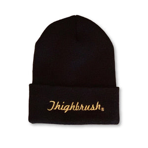 "THIGHBRUSH® Cuffed Beanies - ""THIGHBRUSH®"" Embroidered on Front - Black with Gold - thighbrush"