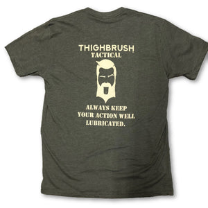 "THIGHBRUSH TACTICAL - ""Always Keep Your Action Well Lubricated"" - Men's T-Shirt - Olive and Tan - thighbrush"