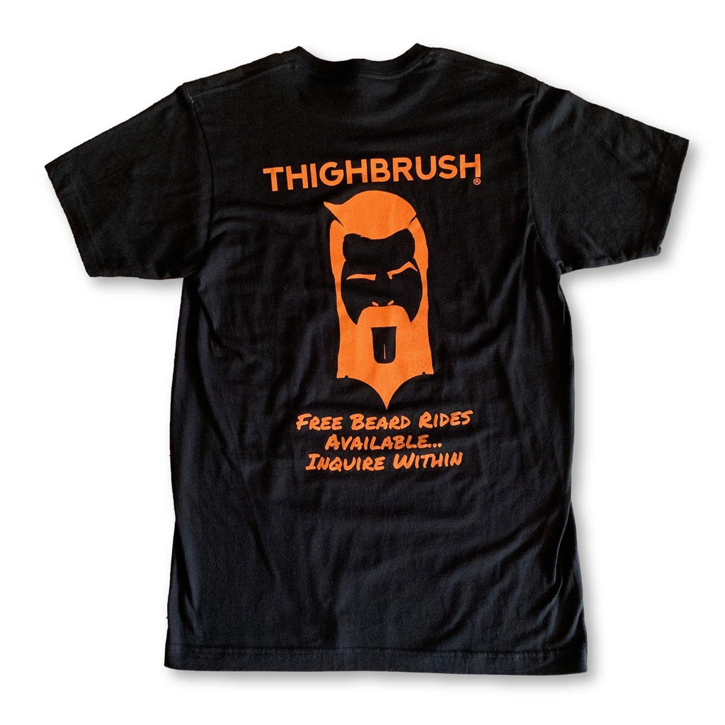 "THIGHBRUSH® - ""FREE Beard Rides Available...Inquire Within"" Men's T-Shirt - Black with Orange - thighbrush"