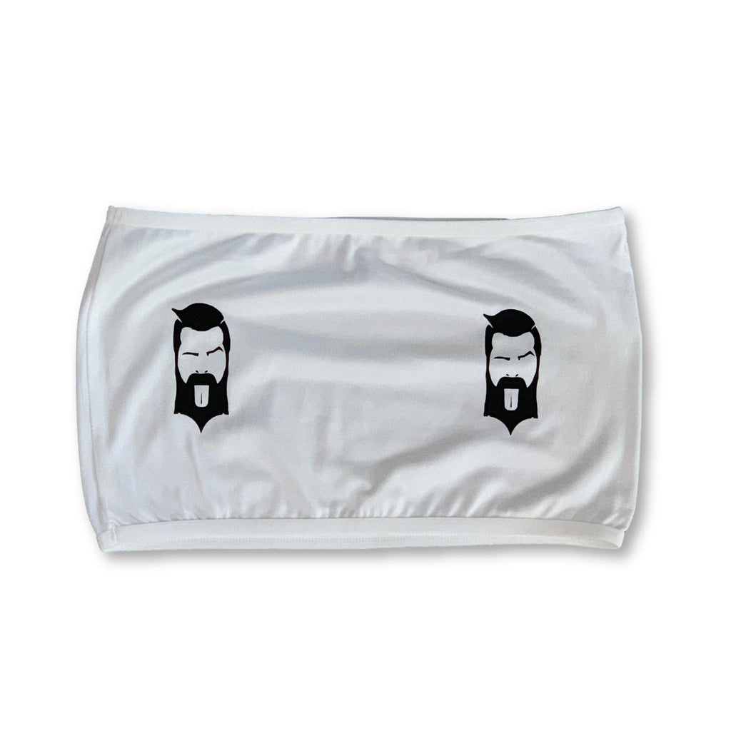 "THIGHBRUSH® - Women's Bandeau Top - Face Logo ""PASTIES"" - White - thighbrush"