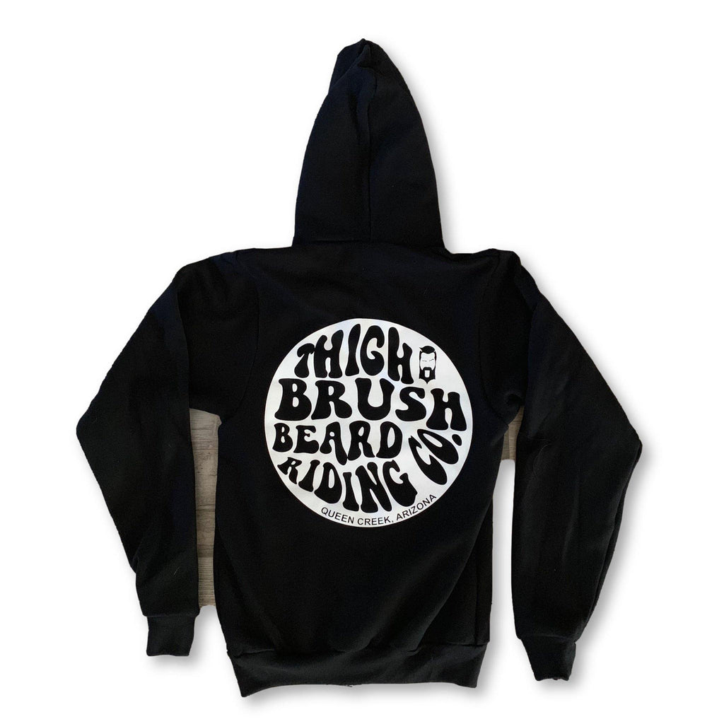 THIGHBRUSH® BEARD RIDING COMPANY - Unisex Zipper Hooded Sweatshirt - Black - thighbrush