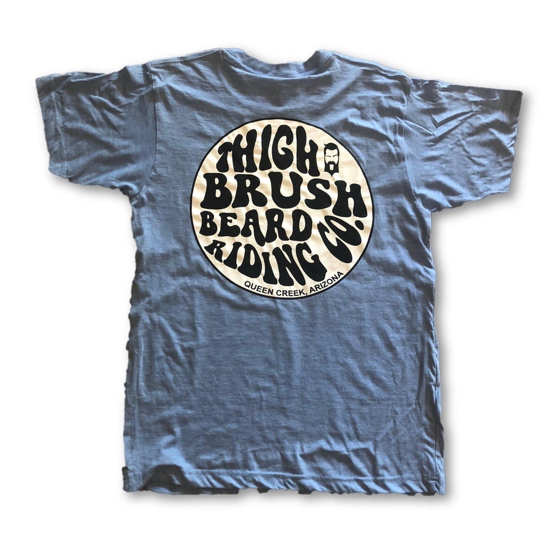 THIGHBRUSH BEARD RIDING COMPANY - Men's Logo T-Shirt - Light Blue - BACK
