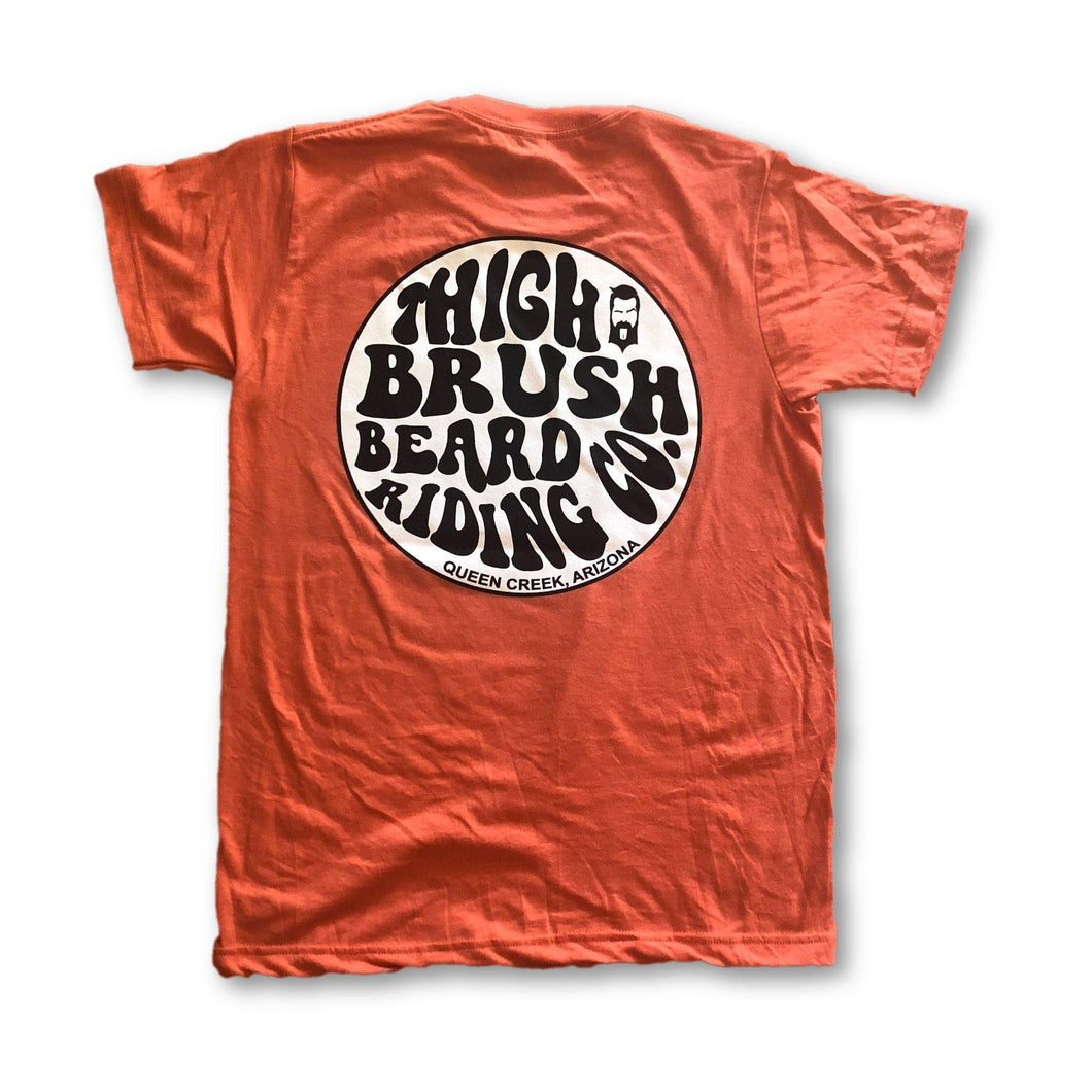 THIGHBRUSH BEARD RIDING COMPANY - Men's Logo T-Shirt - Tangerine - BACK