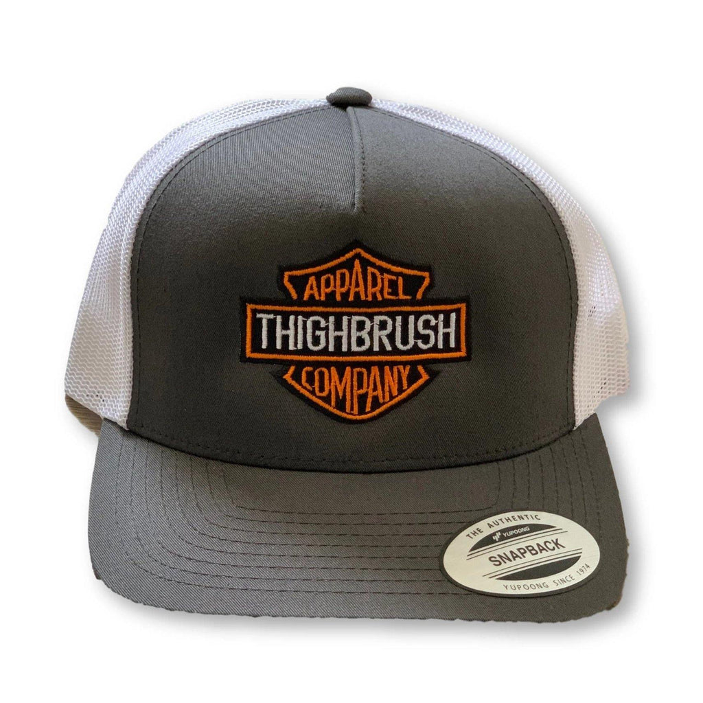 "THIGHBRUSH® BIKERS - ""THIGHBRUSH APPAREL COMPANY"" - Snapback Hat - Charcoal Grey and Whilte - thighbrush"