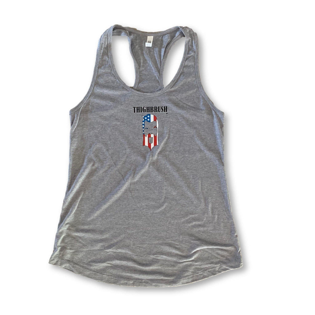 "THIGHBRUSH® - ""LICK  IT OR LEAVE IT"" - Women's Tank Top - Heather Grey - thighbrush"