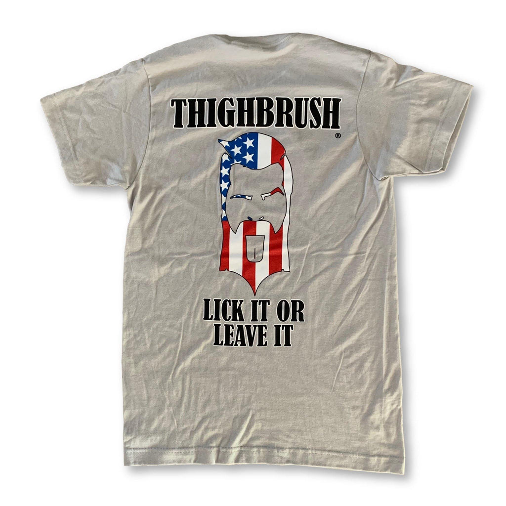 "THIGHBRUSH® - ""LICK IT OR LEAVE IT"" - Men's T-Shirt - Heather Grey - thighbrush"