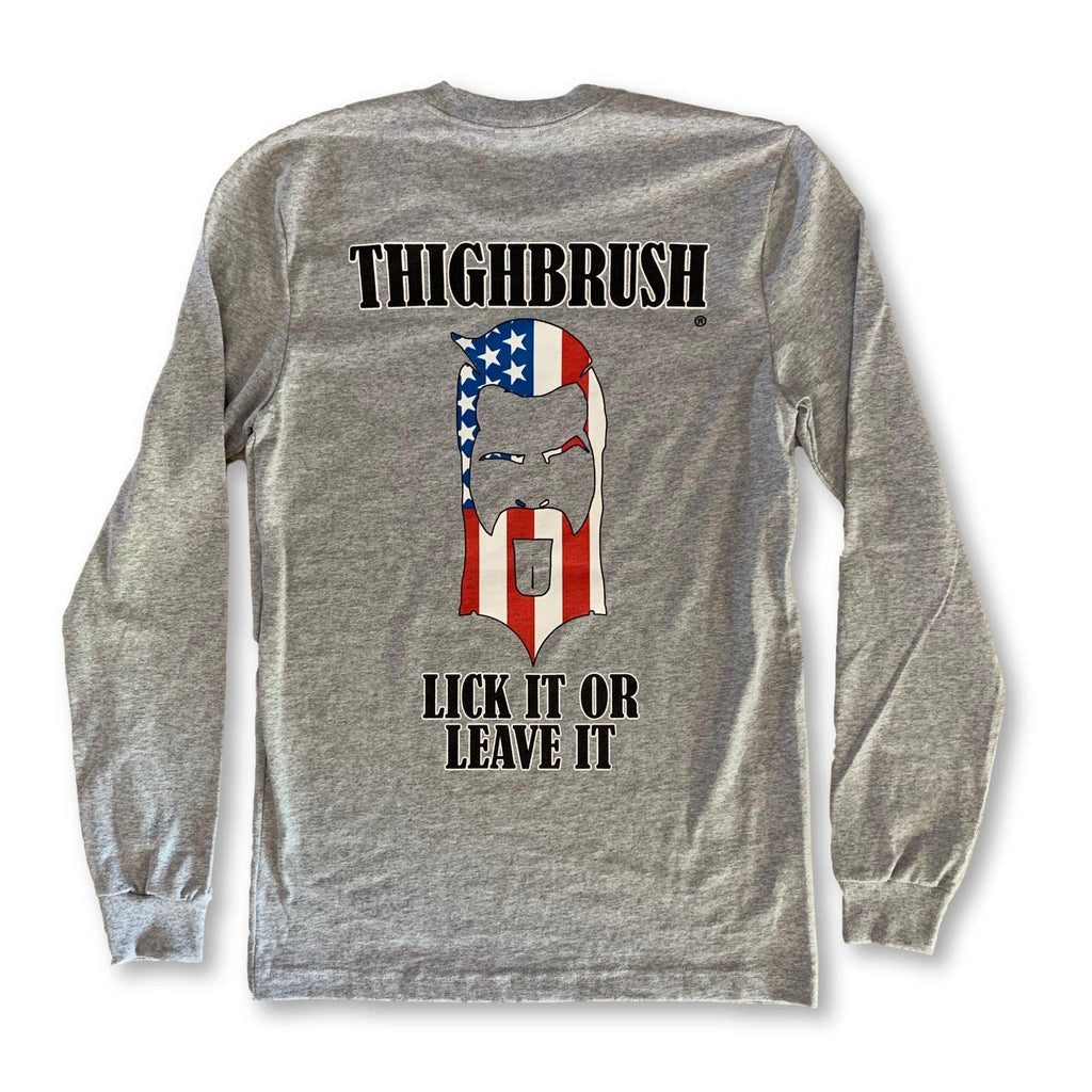 "THIGHBRUSH® - ""LICK IT OR LEAVE IT"" - Unisex Long Sleeve T-Shirt - Heather Grey - thighbrush"