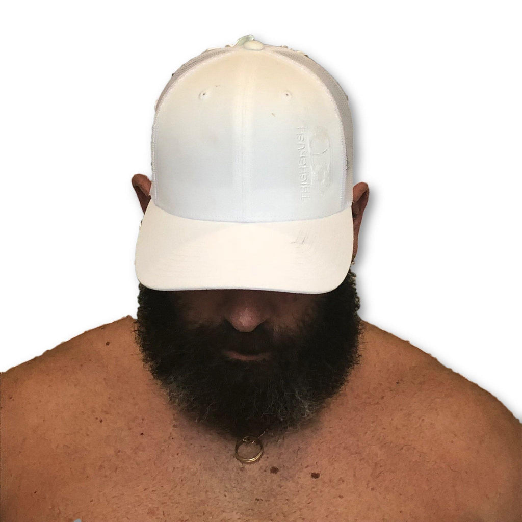 THIGHBRUSH® - Trucker Snapback Hat - White on White - thighbrush