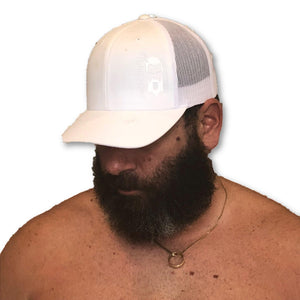 THIGHBRUSH - Trucker Snapback Hat - White on White - THIGHBRUSH®