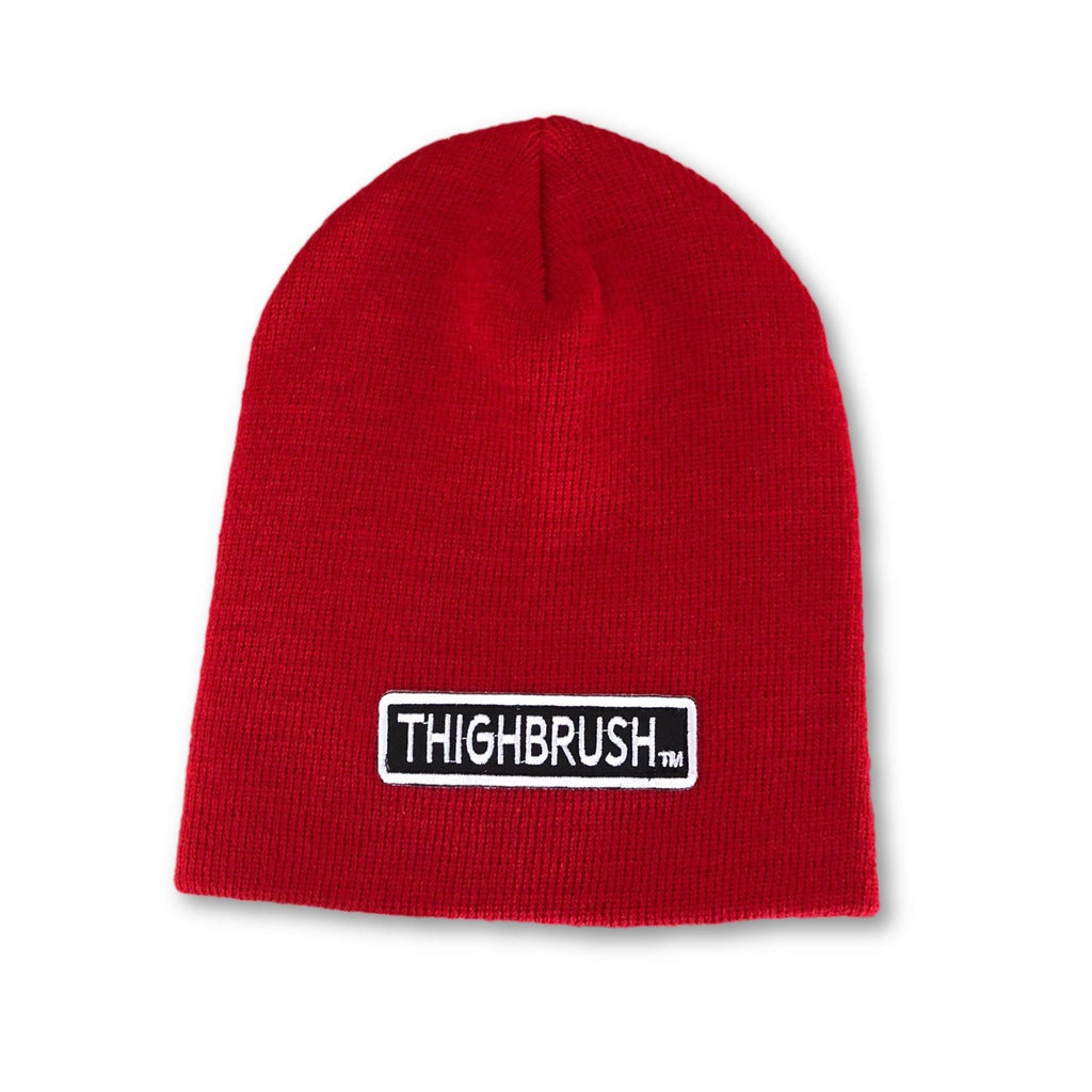 "THIGHBRUSH® Beanies - ""THIGHBRUSH"" Patch on Front - Black, Grey, Red, Pink, White - thighbrush"