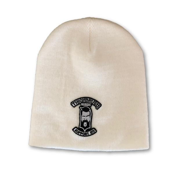 "THIGHBRUSH® BIKERS ""SUPPORT 69"" Beanies - Patch on Front - White - thighbrush"