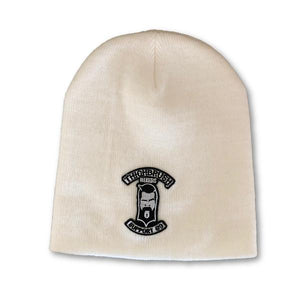 "THIGHBRUSH® BIKERS ""SUPPORT 69"" Beanies - Patch on Front - White"