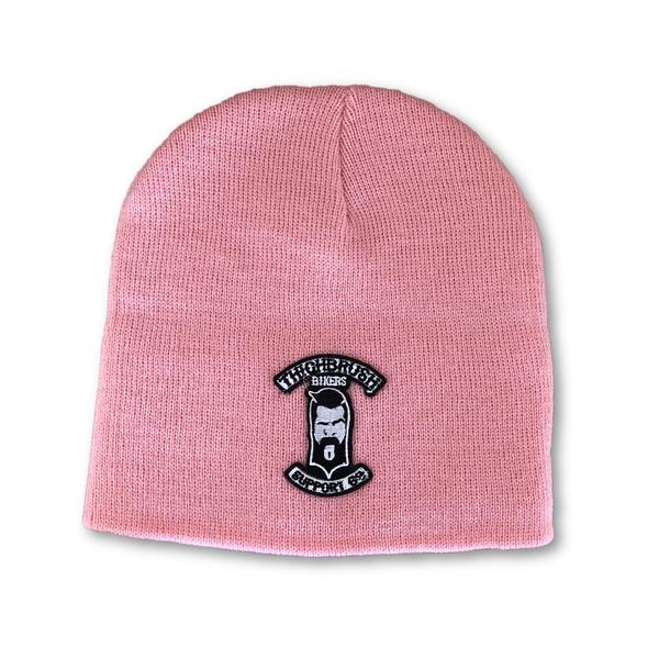 "THIGHBRUSH® BIKERS ""SUPPORT 69"" Beanies - Patch on Front - Pink - thighbrush"