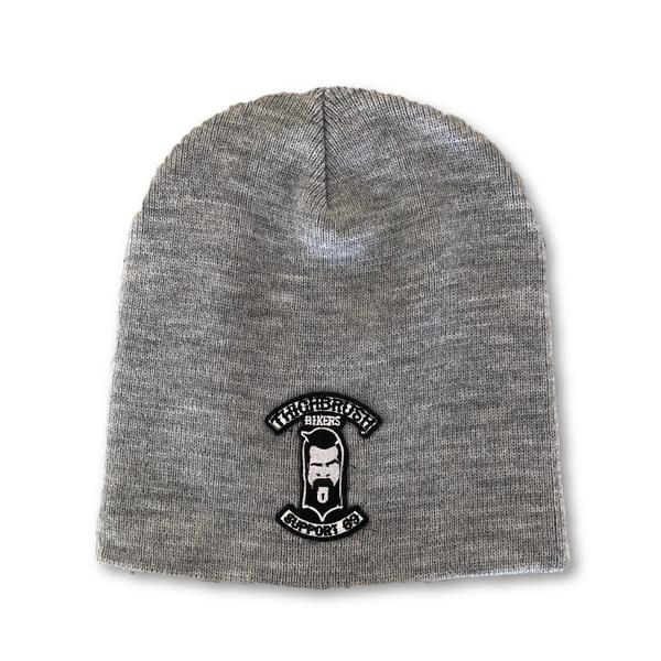 "THIGHBRUSH® BIKERS ""SUPPORT 69"" Beanies - Patch on Front - Grey - thighbrush"