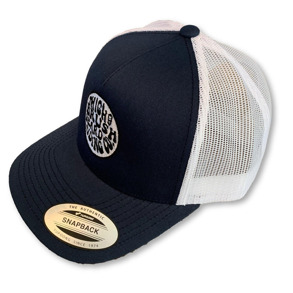 THIGHBRUSH® BEARD RIDING COMPANY - Trucker Snapback Hat - Navy Blue and White - thighbrush