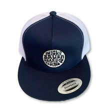 THIGHBRUSH® BEARD RIDING COMPANY - Trucker Snapback Hat - Navy Blue and White - Flat Bill - thighbrush