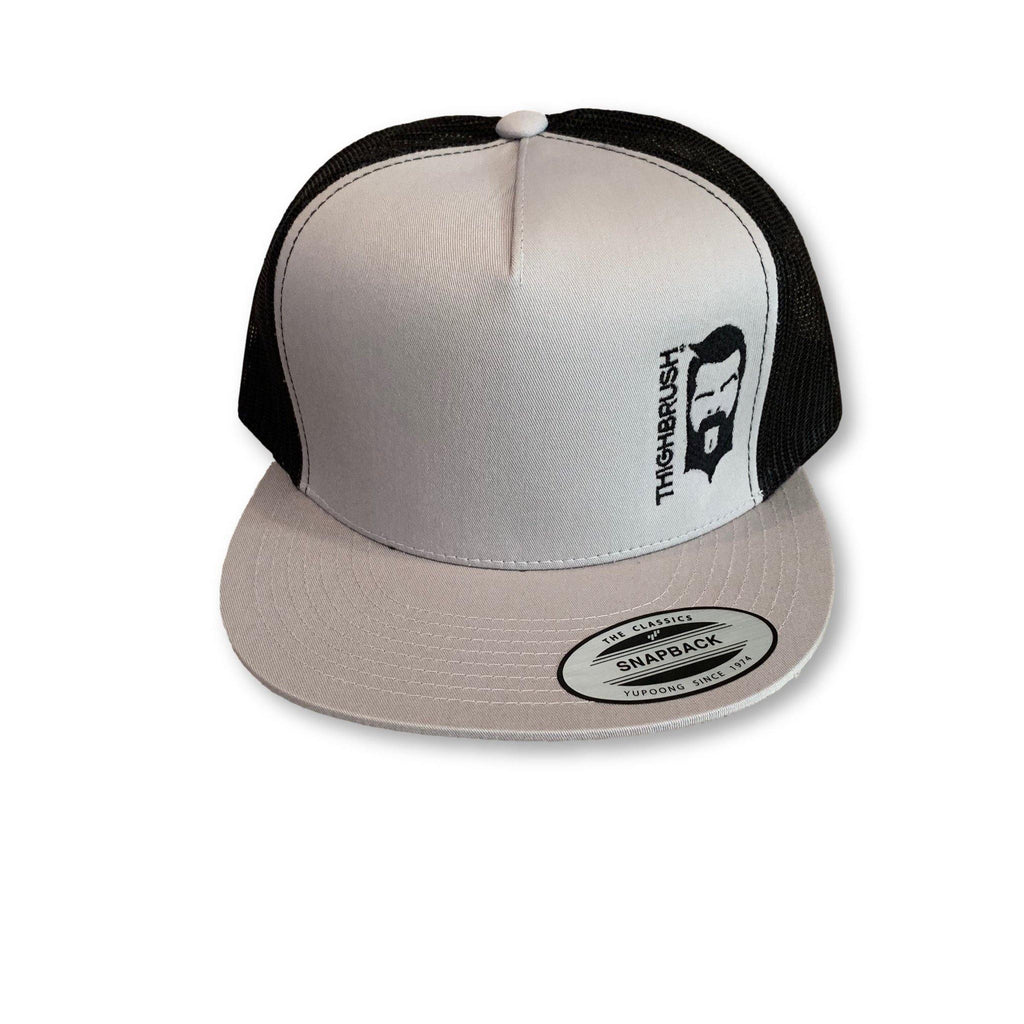 THIGHBRUSH® - Trucker Snapback Hat - Silver and Black - Black Logo - Flat Bill - thighbrush