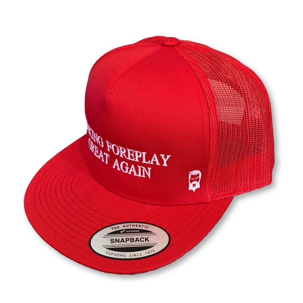 "THIGHBRUSH® - ""Making Foreplay Great Again"" - Trucker Snapback Hat - Red - Flat Bill - thighbrush"