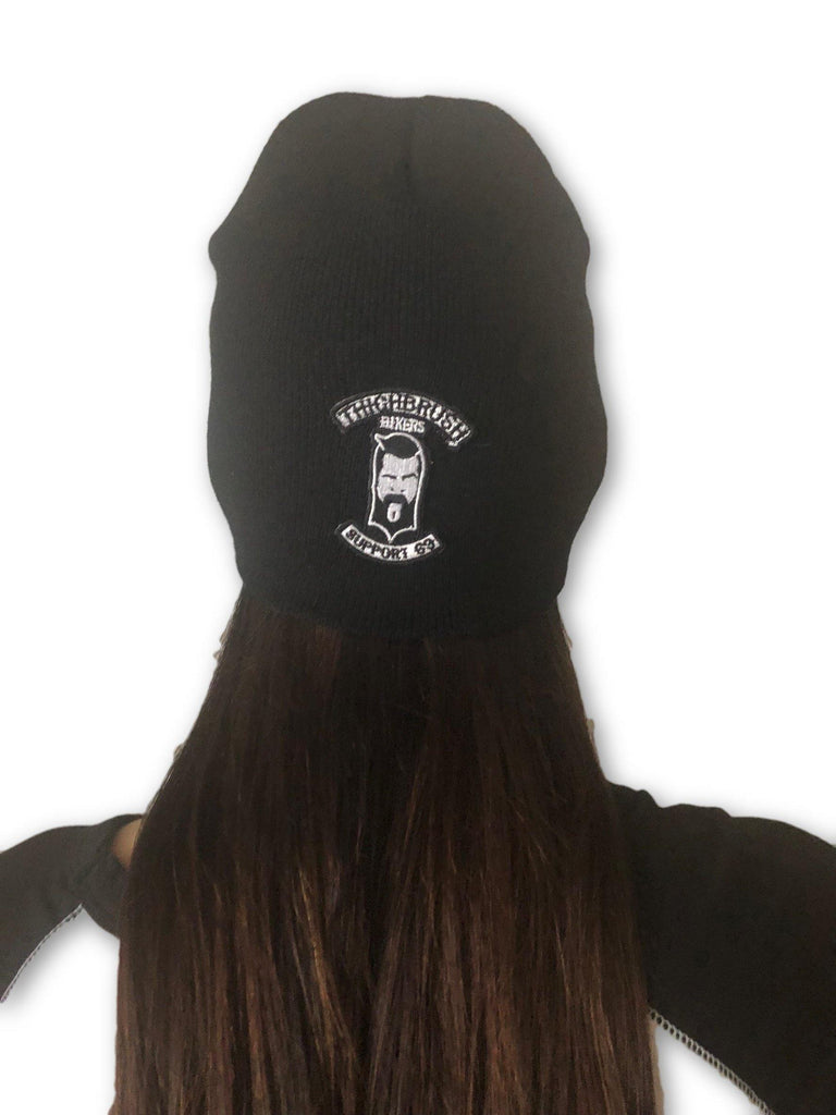 "THIGHBRUSH® BIKERS ""SUPPORT 69"" Beanies - Patch on Front - Black - thighbrush"