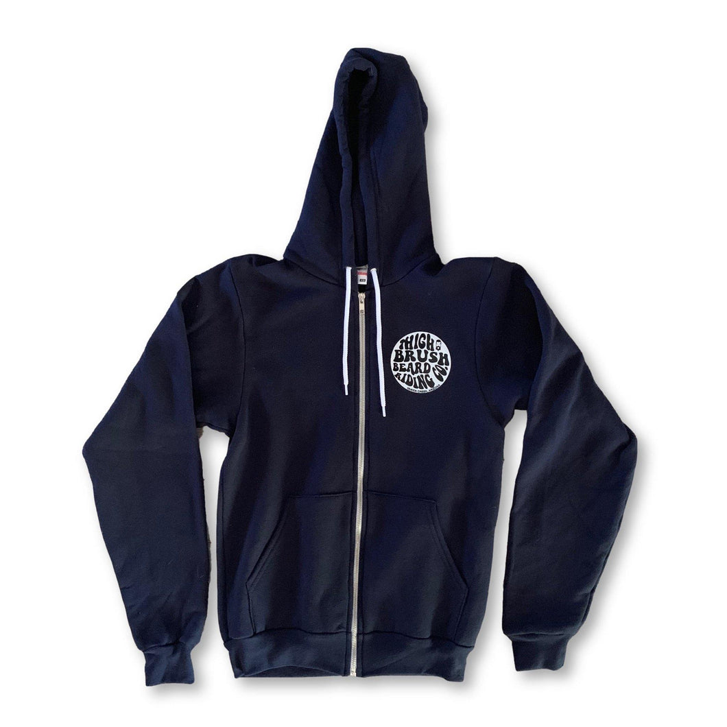 THIGHBRUSH® BEARD RIDING COMPANY - Unisex Zipper Hooded Sweatshirt - Navy Blue - thighbrush