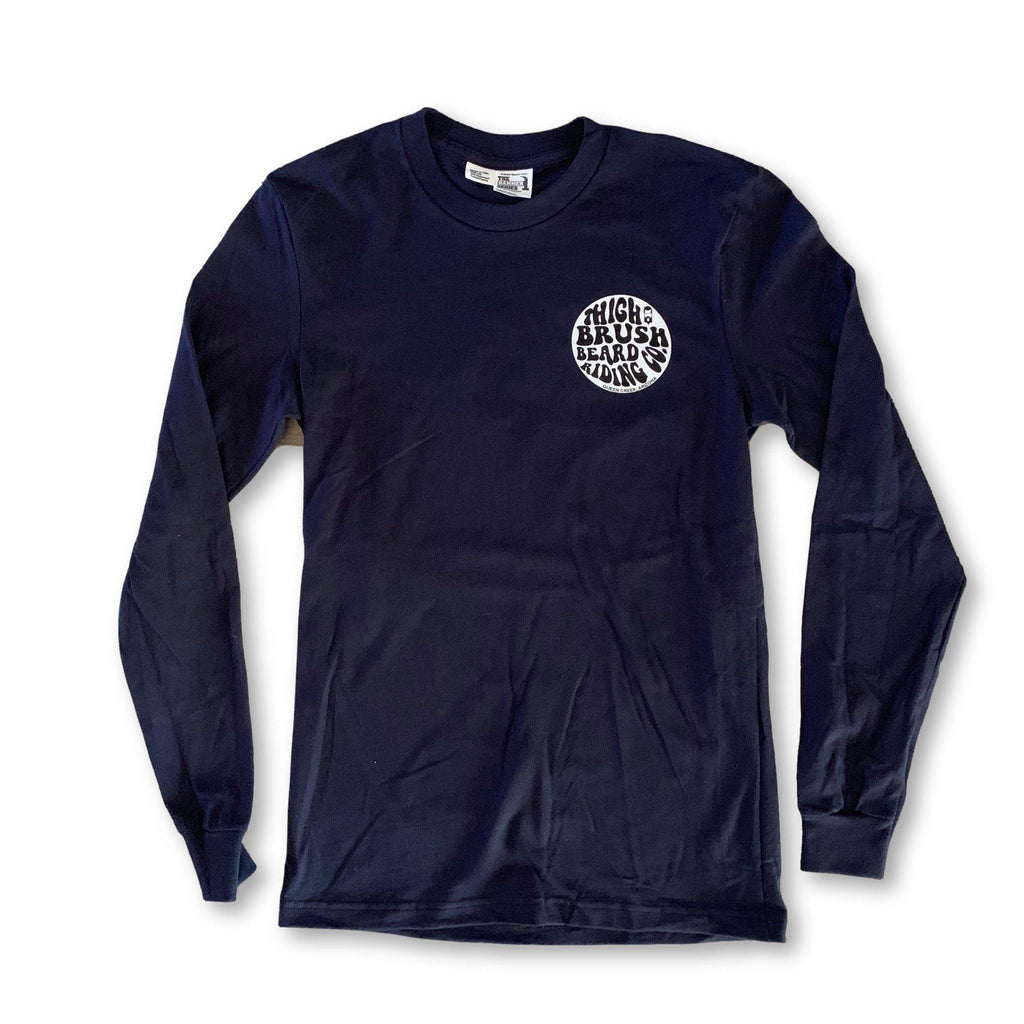 THIGHBRUSH® BEARD RIDING COMPANY - Unisex Long Sleeve Logo T-Shirt - Navy Blue - thighbrush