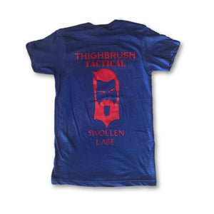 "THIGHBRUSH® TACTICAL - ""Swollen Labe"" - Men's T-Shirt -  Blue and Red - thighbrush"