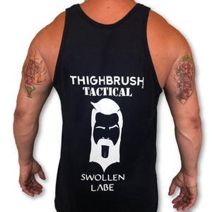 THIGHBRUSH TACTICAL - Swollen Labe - Men's Tank Top -  Navy Blue and White